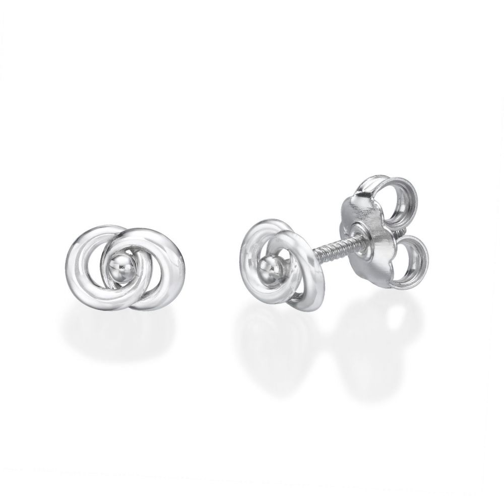 Girl's Jewelry | 14K White Gold Kid's Stud Earrings - Linked Circles