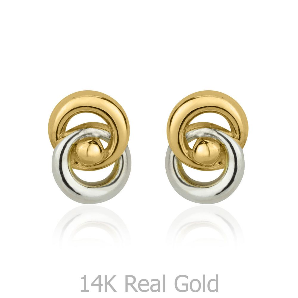 Girl's Jewelry | Stud Earrings in 14K White & Yellow Gold - Linked Circles