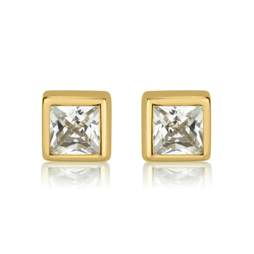 Girl's Jewelry | 14K Yellow Gold Kid's Stud Earrings - Sparkling Square - Large