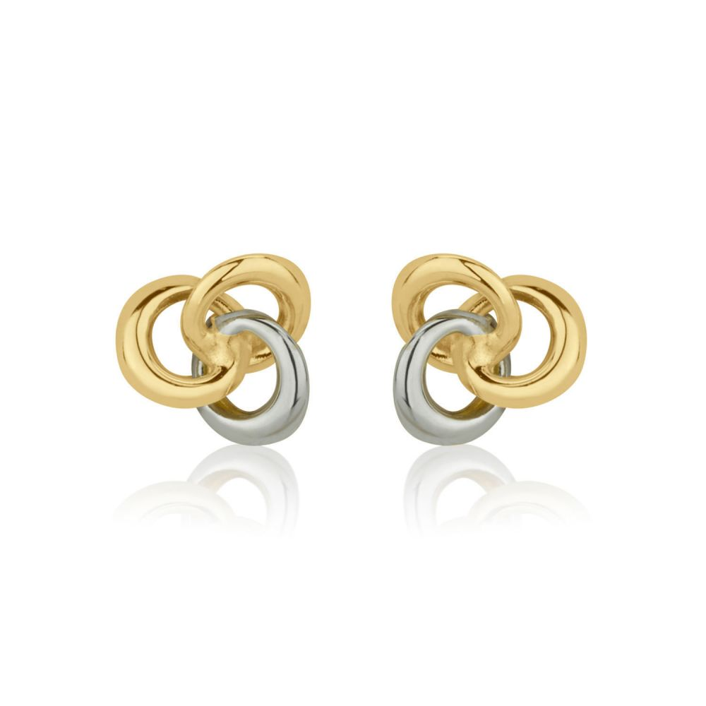 Girl's Jewelry | Stud Earrings in 14K White & Yellow Gold - Unity of Circles - Small