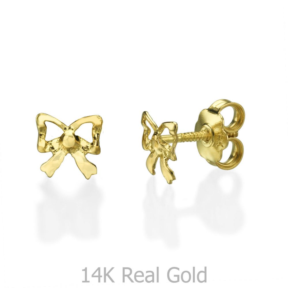 Girl's Jewelry | Stud Earrings in 14K Yellow Gold - Delicate Bow
