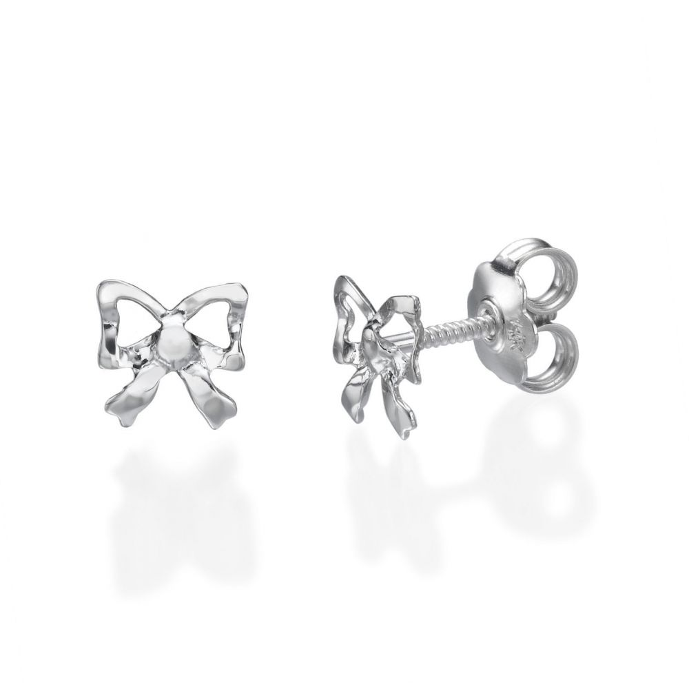 Girl's Jewelry | 14K White Gold Kid's Stud Earrings - Delicate Bow