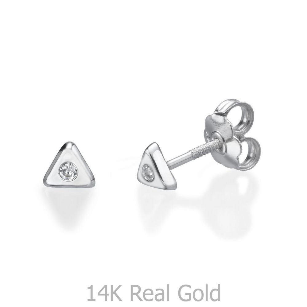 Girl's Jewelry | Stud Earrings in 14K White Gold - Sparkling Triangle