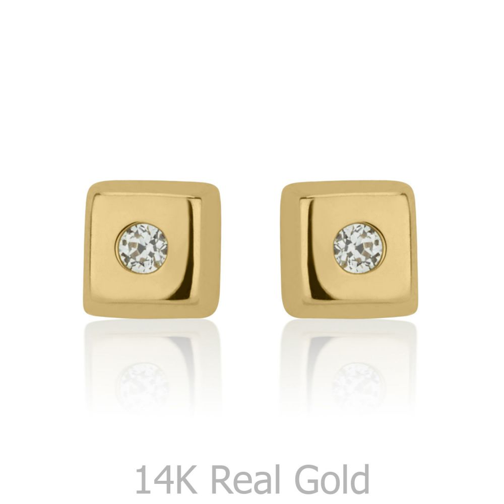 Girl's Jewelry | 14K Yellow Gold Kid's Stud Earrings - Sparkling Square
