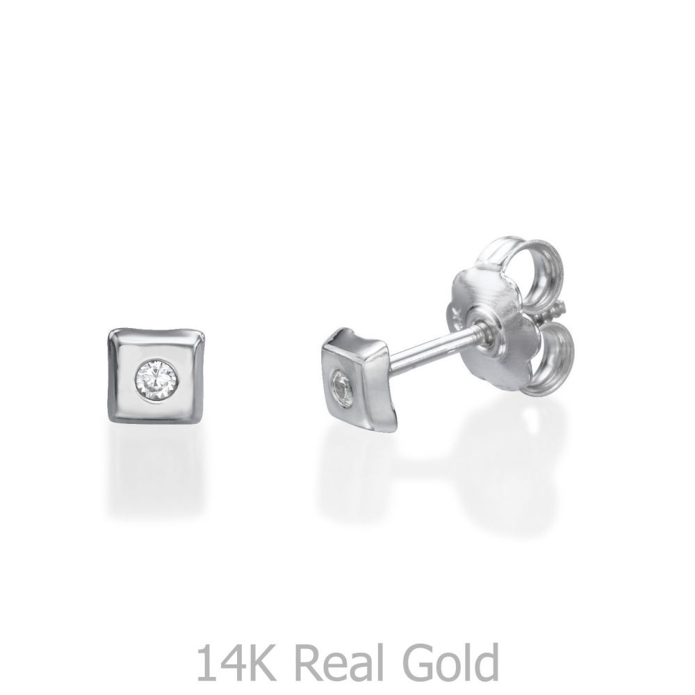 Girl's Jewelry | 14K White Gold Kid's Stud Earrings - Sparkling Square Small