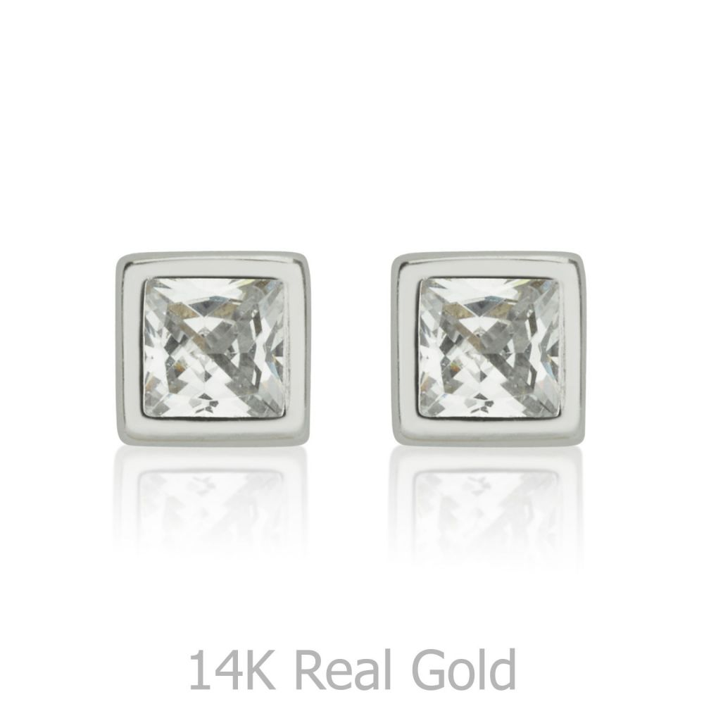 Girl's Jewelry | 14K White Gold Kid's Stud Earrings - Intriguing Square