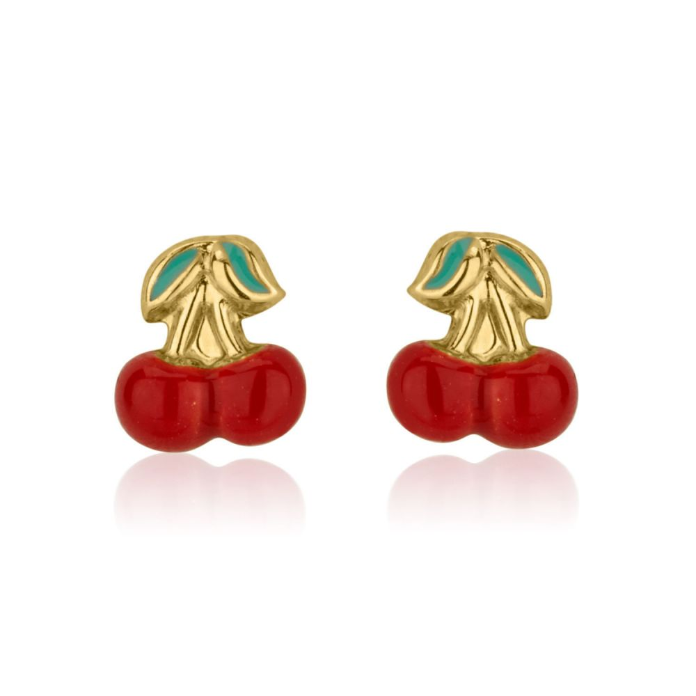 Girl's Jewelry | Stud Earrings in 14K Yellow Gold - Cheery Cherry