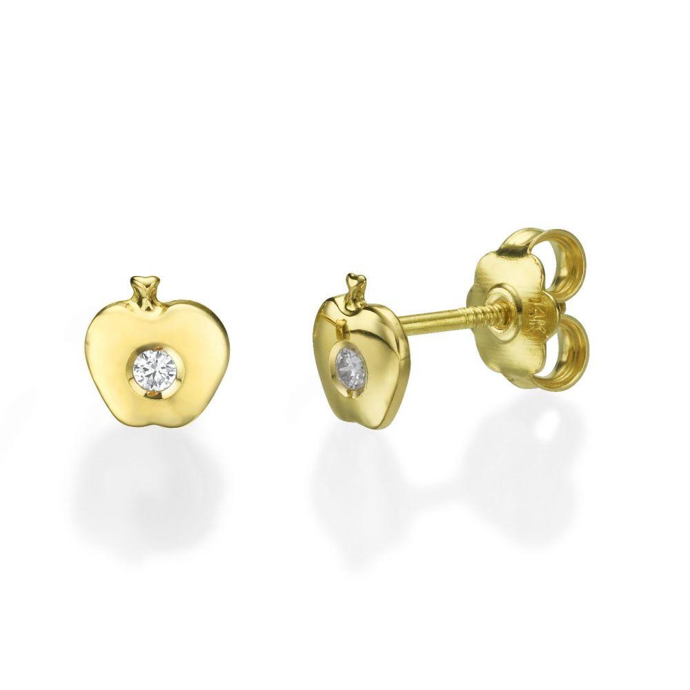Girl's Jewelry | Gold Stud Earrings -  Sparkling Apple