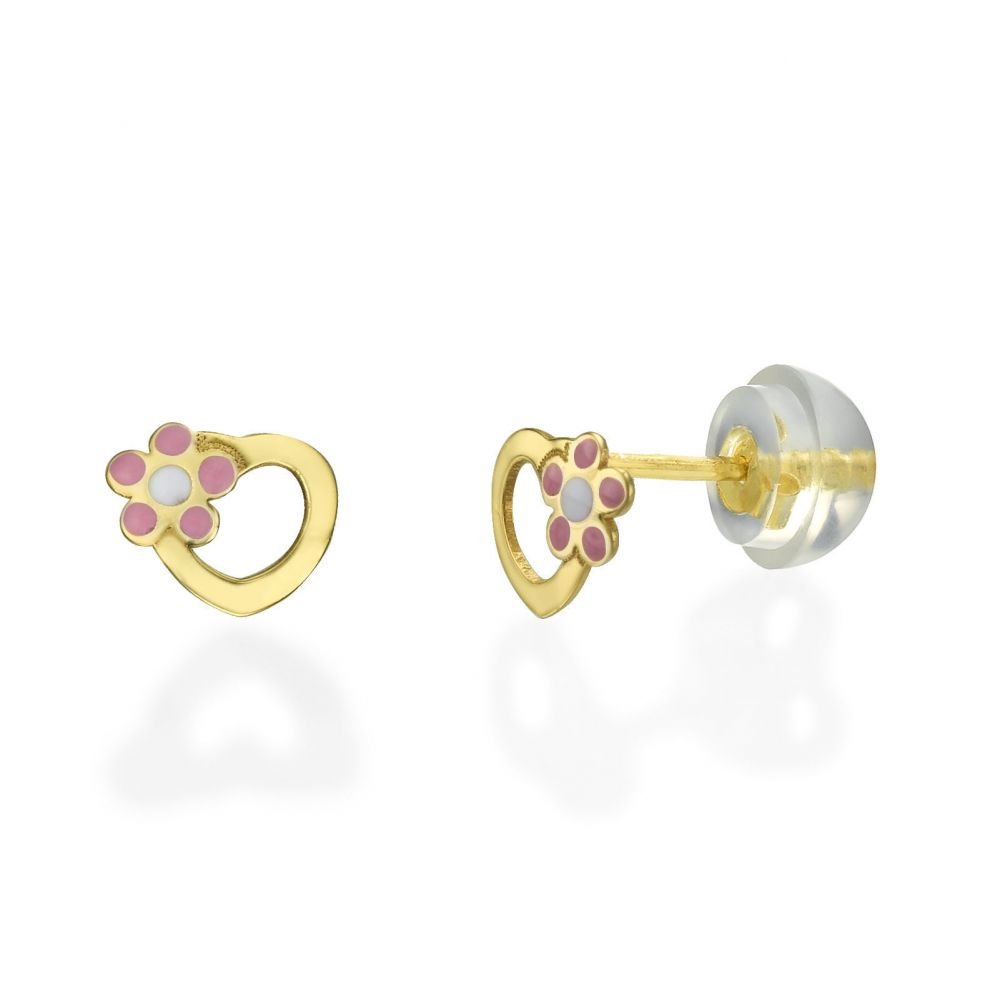 Girl's Jewelry | 14K Yellow Gold Kid's Stud Earrings - Daisy Heart - Pink