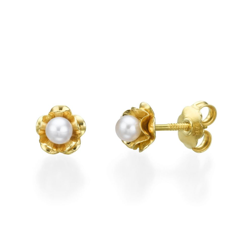 Girl's Jewelry | Gold Stud Earrings - Pearl & Flower