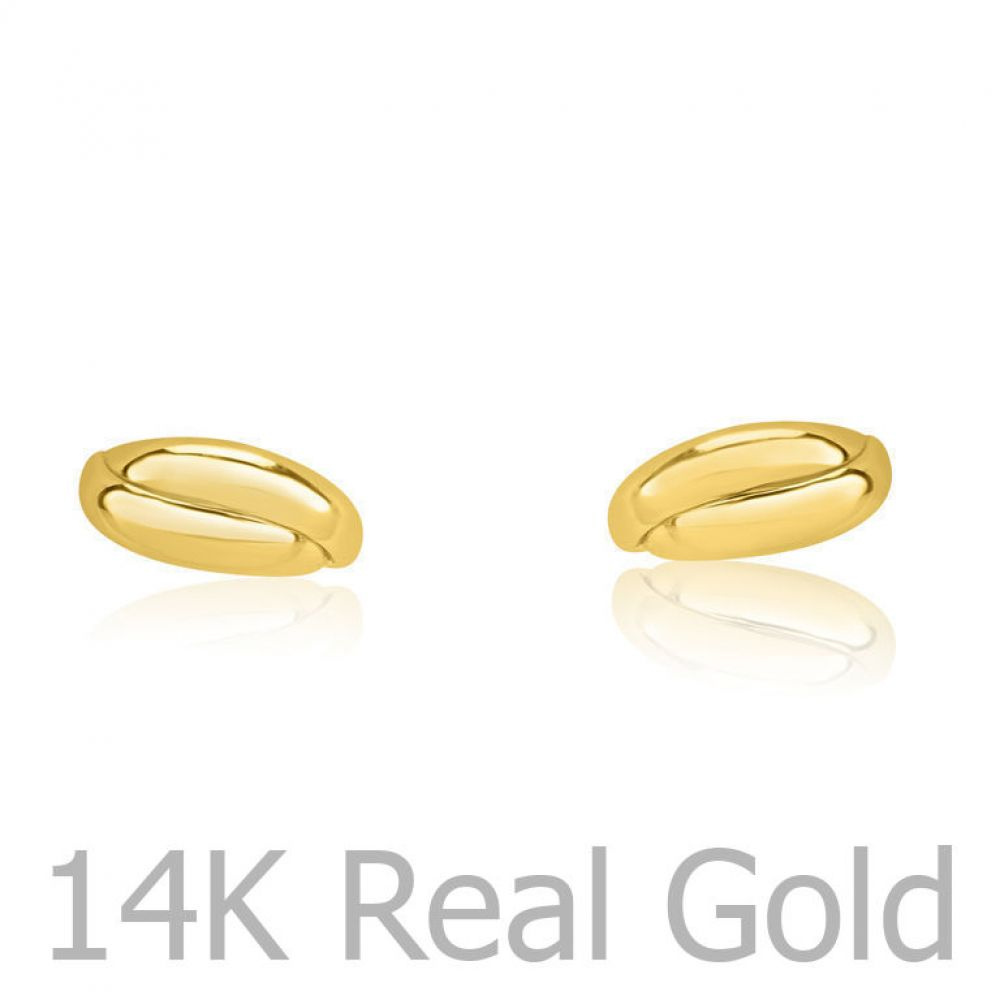 Girl's Jewelry | Stud Earrings in 14K Yellow Gold - Smooth Crescents