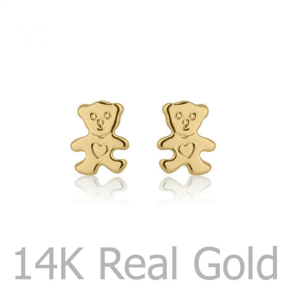 Girl's Jewelry | Gold Stud Earrings -  Cute Teddy