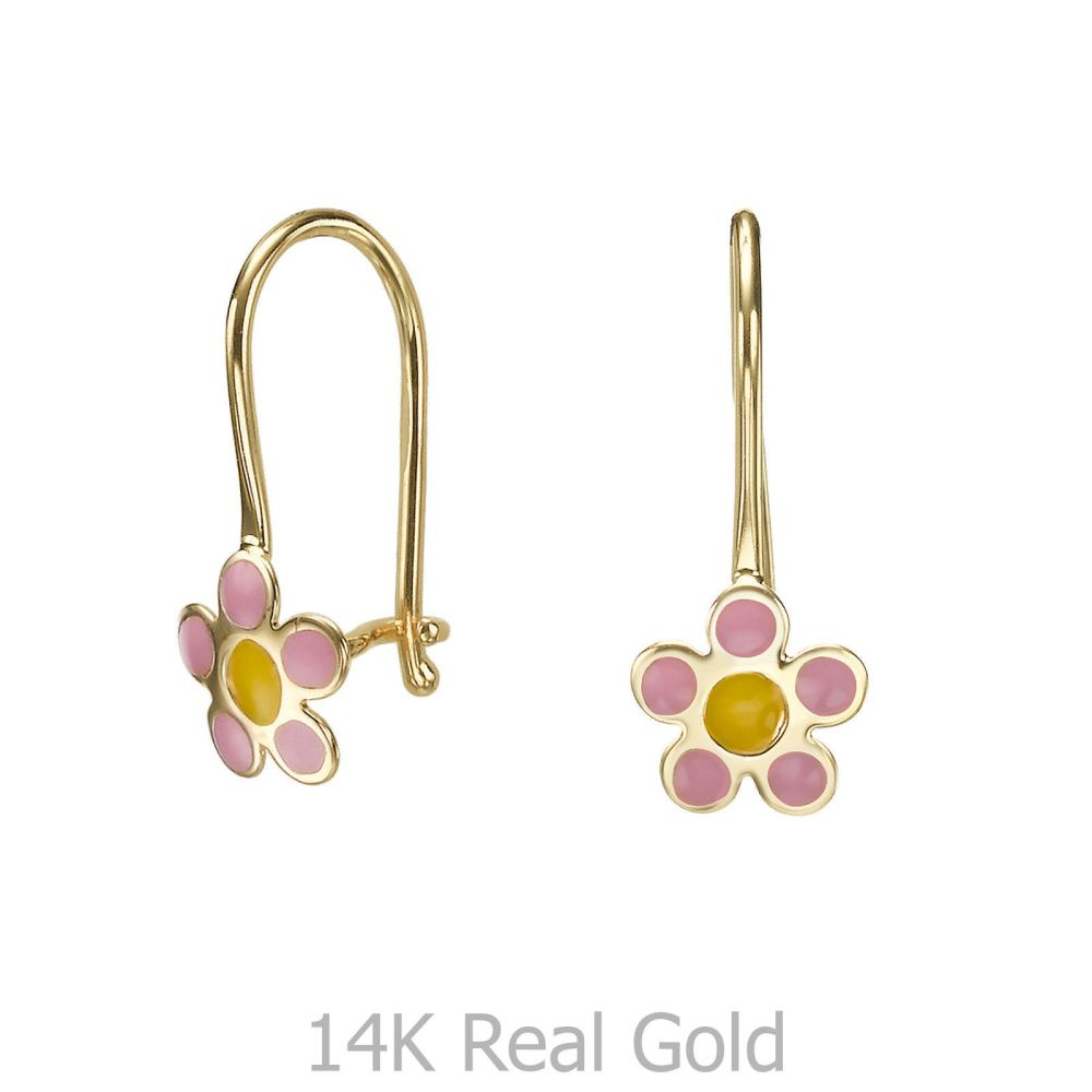 Gold Earrings | Dangle Earrings in14K Yellow Gold - Celia Flower