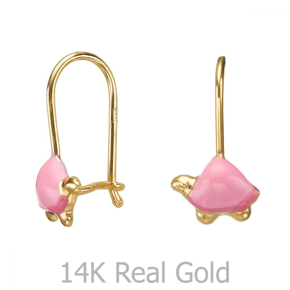 Girl's Jewelry | Dangle Earrings in14K Yellow Gold - Torti Tortoise