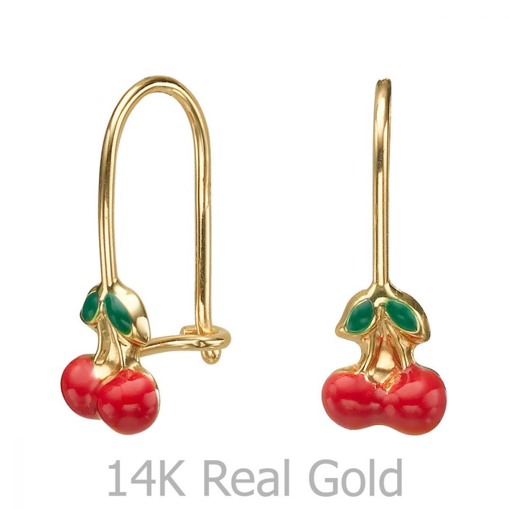 Girl's Jewelry | Dangle Earrings in14K Yellow Gold - Cherry Drop