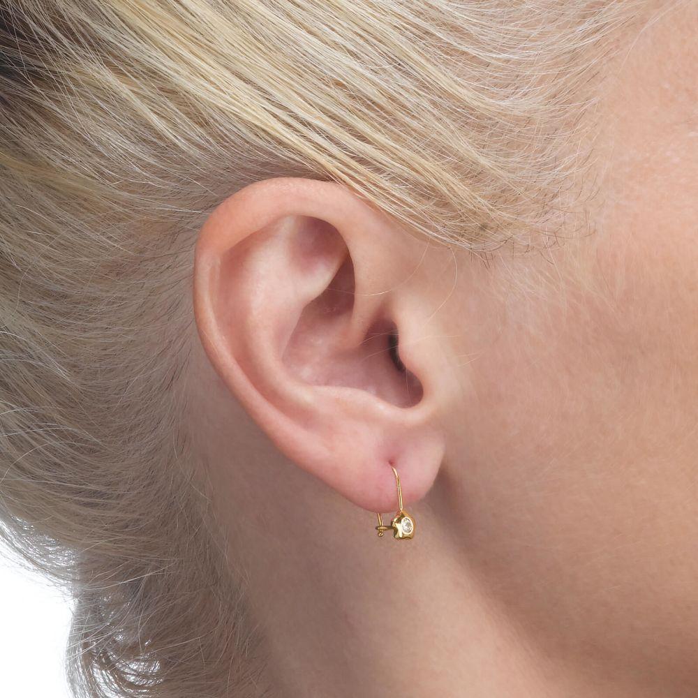 Girl's Jewelry | Dangle Earrings in14K Yellow Gold - Annabelle Flower