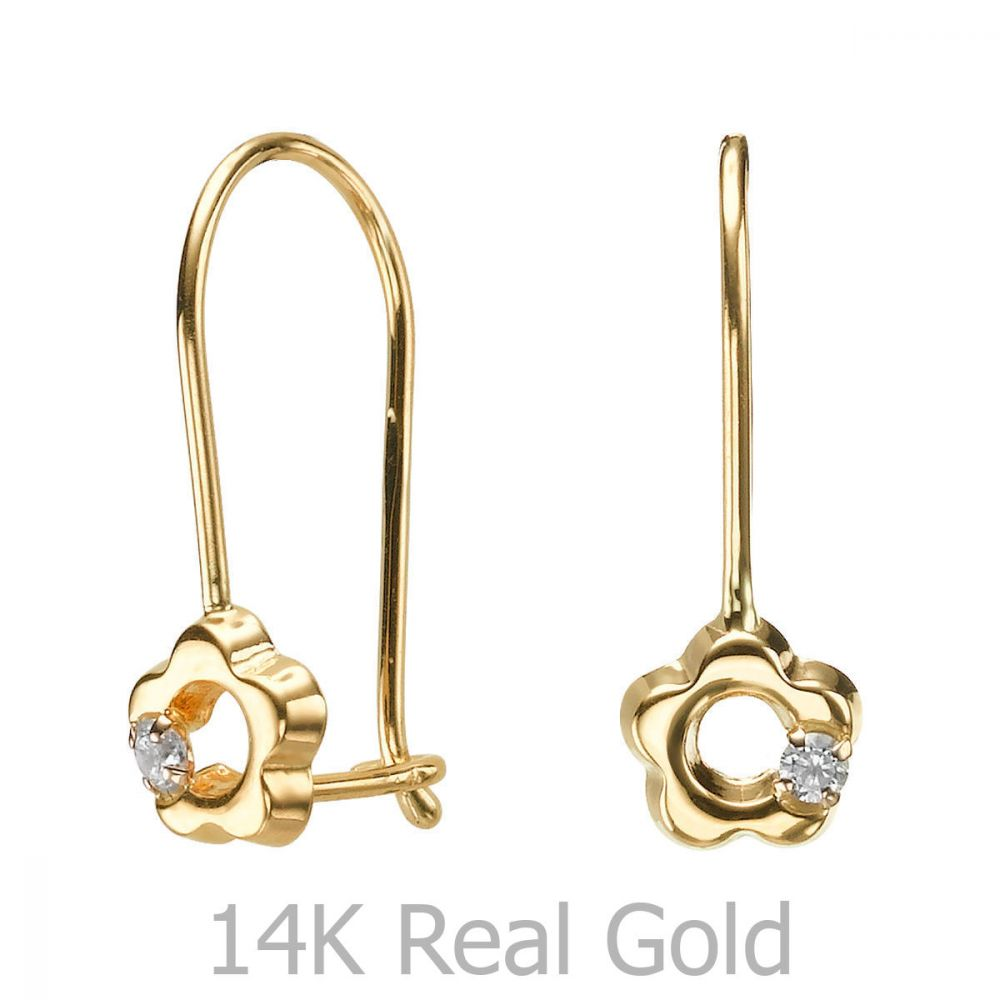 Gold Earrings | Dangle Earrings in14K Yellow Gold - Hope Flower