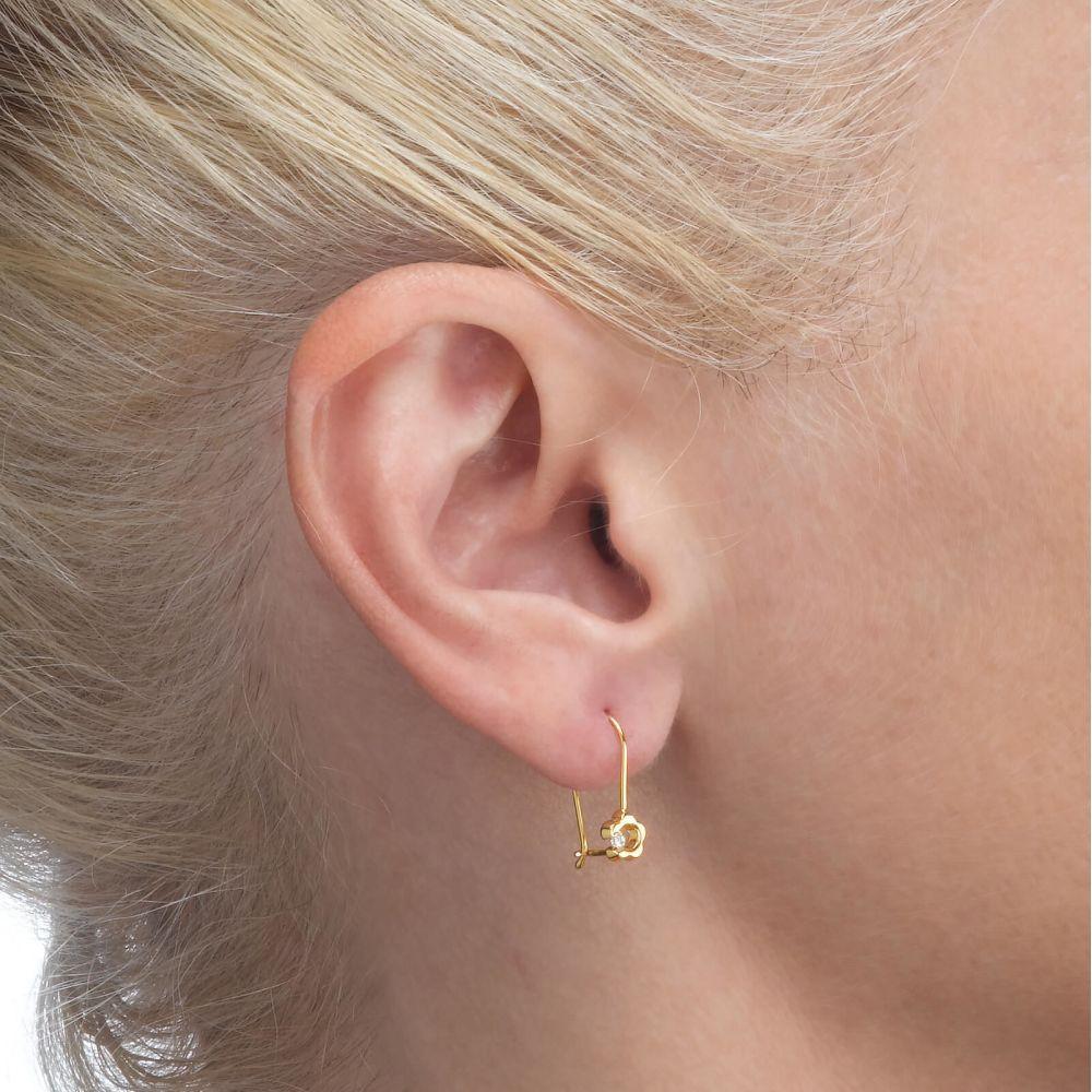 Gold Earrings | Dangle Earrings in14K Yellow Gold - Hope Flower