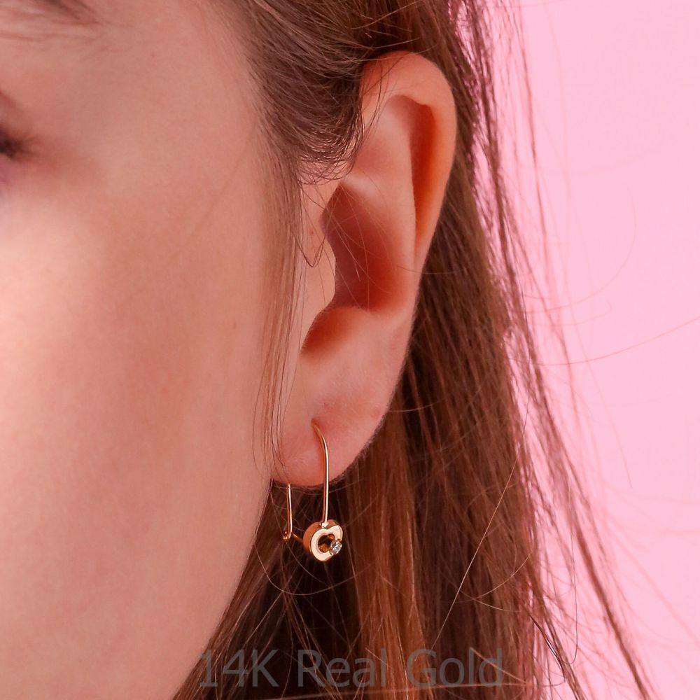 Girl's Jewelry | Dangle Earrings in14K Yellow Gold - Heart of Mazzy