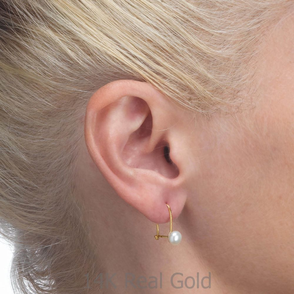 Girl's Jewelry | Dangle Earrings in14K Yellow Gold - Shining Pearl