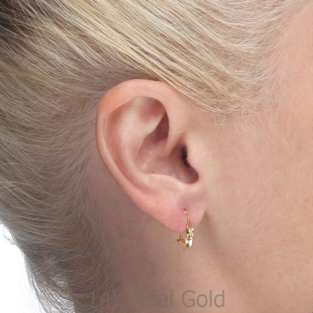 Gold Earrings | Dangle Earrings in14K Yellow Gold - Triple Love Heart