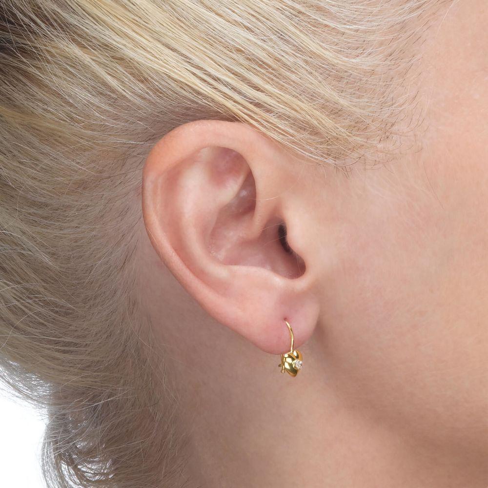 Gold Earrings | Dangle Earrings in14K Yellow Gold - Supergirl Heart