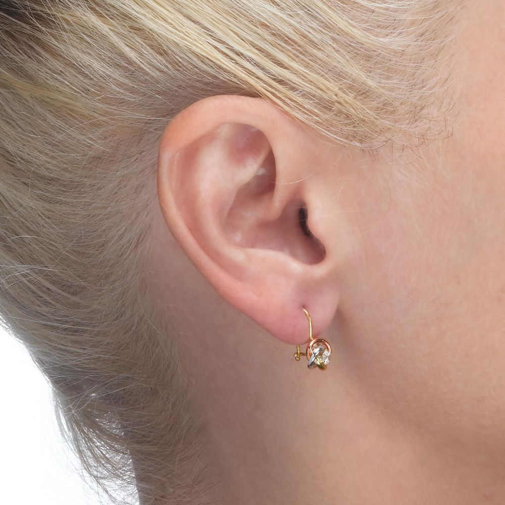 Girl's Jewelry | Dangle Earrings in14K Yellow Gold - Circles of Marianne