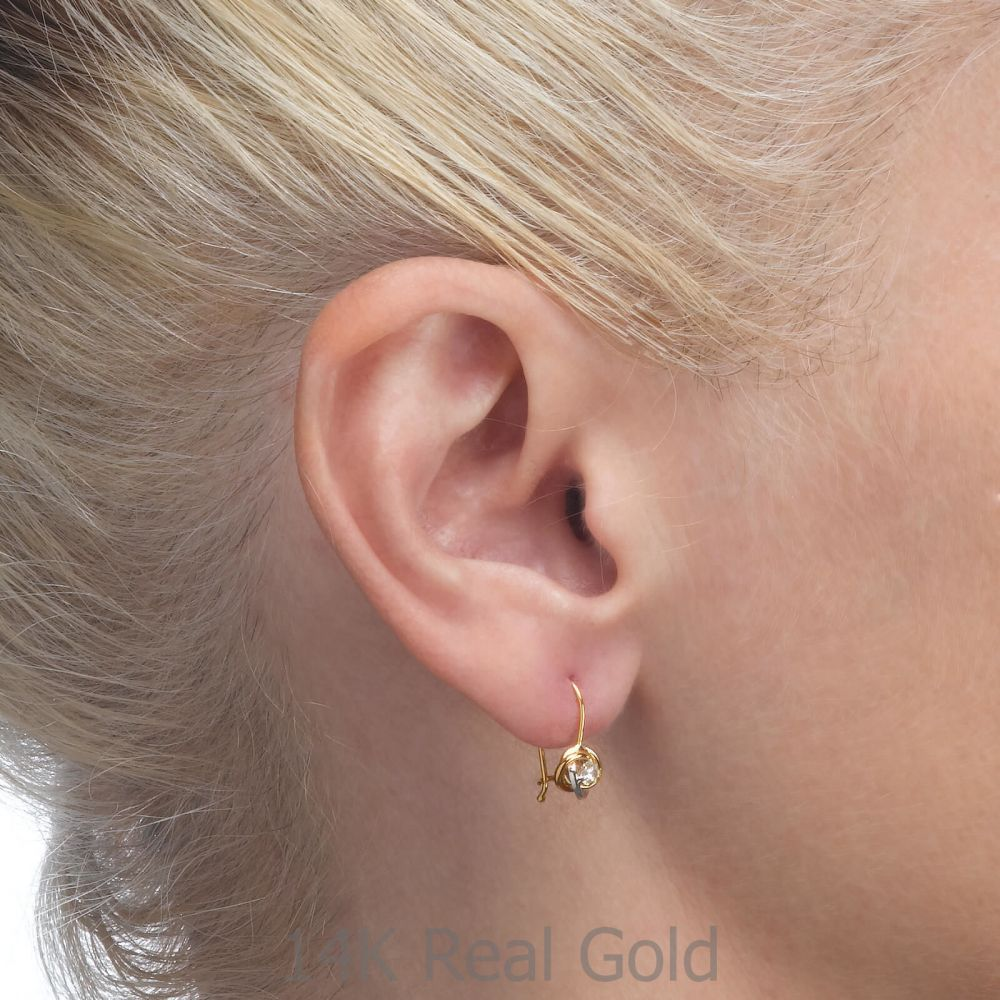 Girl's Jewelry | Dangle Earrings in14K Yellow Gold - Circles of Mary (Small)