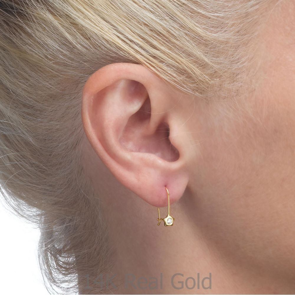 Girl's Jewelry | Dangle Earrings in14K Yellow Gold - Shining Star
