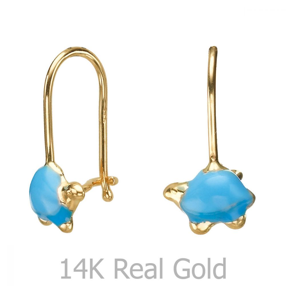 Girl's Jewelry | Dangle Earrings in14K Yellow Gold - Torti Tortoise - Light Blue
