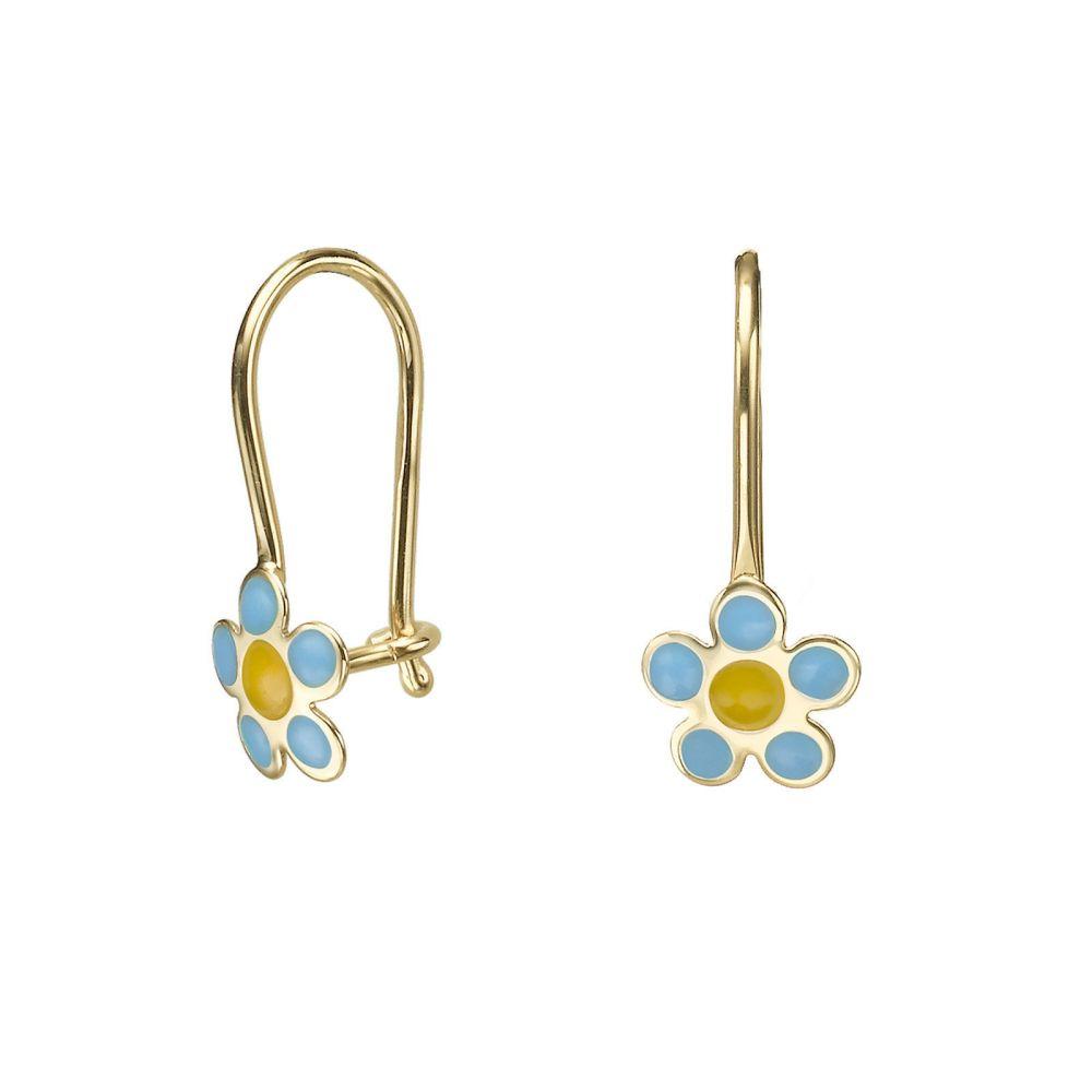 Gold Earrings | Dangle Earrings in14K Yellow Gold - Saia Flower