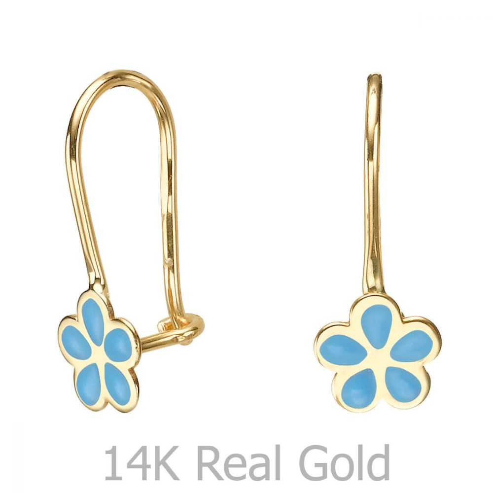 Gold Earrings | Dangle Earrings in14K Yellow Gold - Isabella Flower - Light Blue
