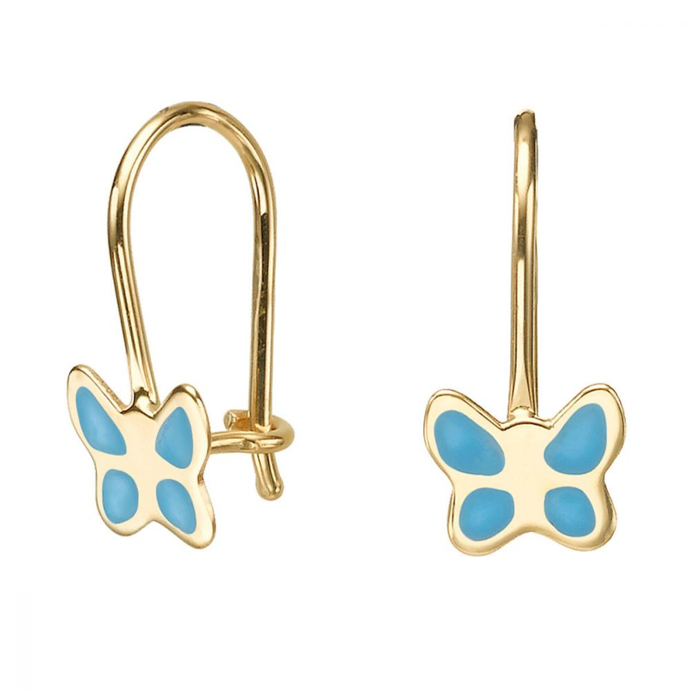 Girl's Jewelry | Dangle Earrings in14K Yellow Gold - Flutterby Butterfly - Light Blue