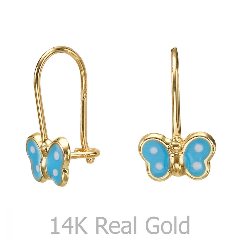 Girl's Jewelry | Dangle Earrings in14K Yellow Gold - Noah Butterfly - Light Blue