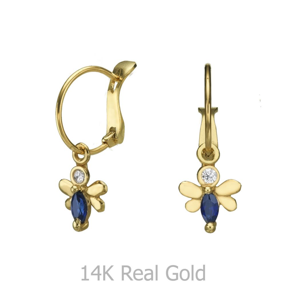Girl's Jewelry | Hoop Earrings in14K Yellow Gold - Honey Bee