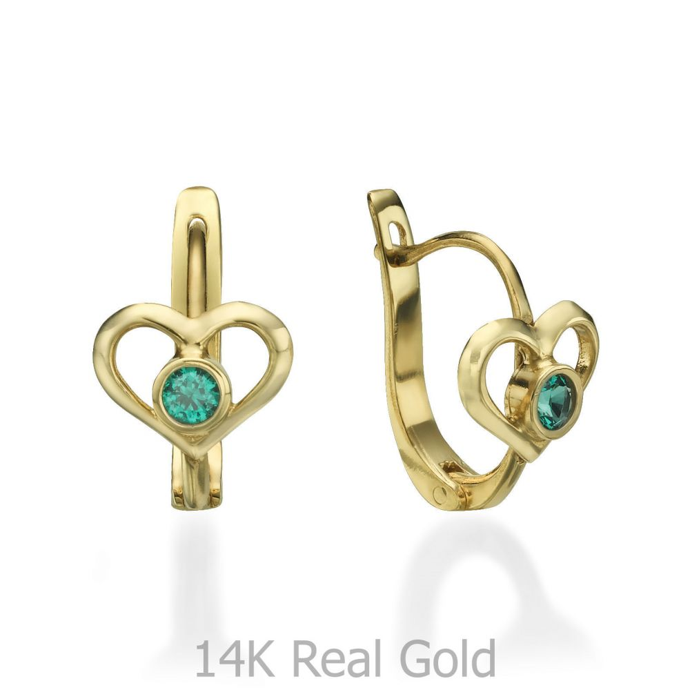 Gold Earrings | Dangle Tight Earrings in14K Yellow Gold - Heart of Ava
