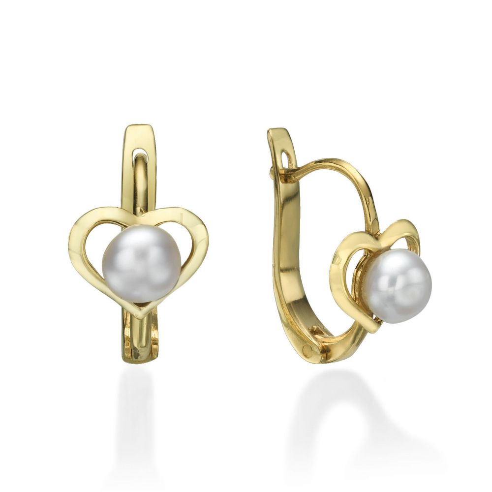 Gold Earrings | Dangle Tight Earrings in14K Yellow Gold - Heart of Delight