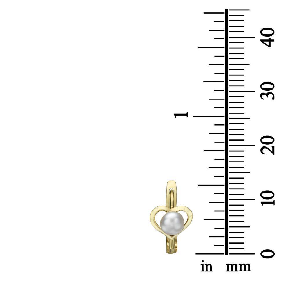 Gold Earrings | Dangle Tight Earrings in14K Yellow Gold - Heart of Delight