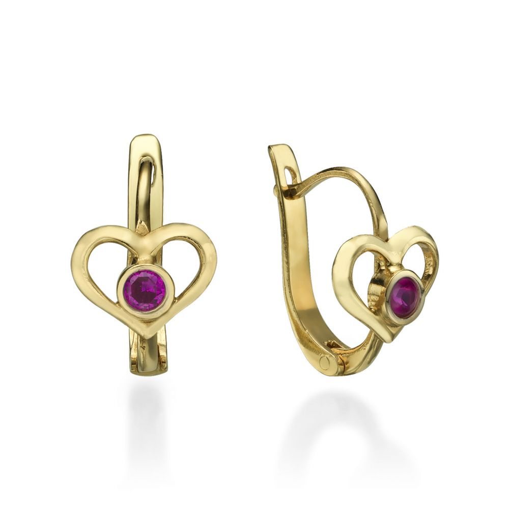 Gold Earrings | Dangle Tight Earrings in14K Yellow Gold - Heart of Joy