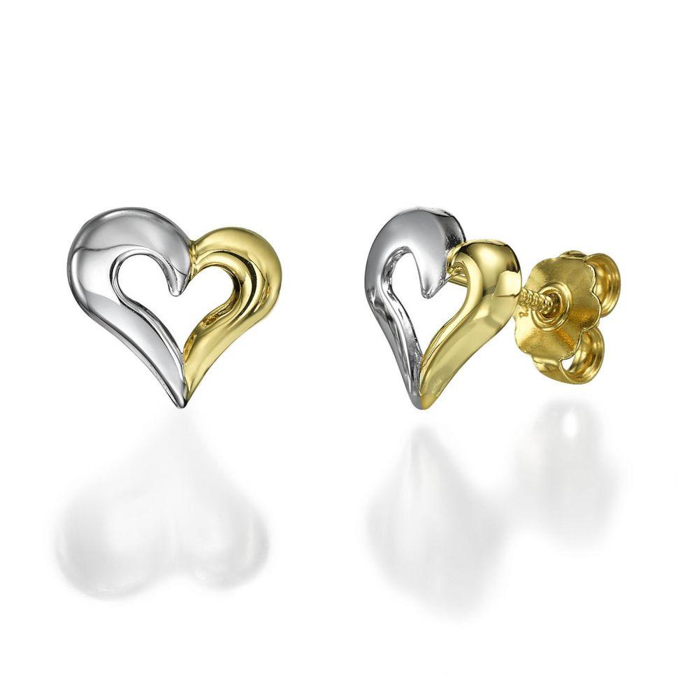 Girl's Jewelry | Stud Earrings in 14K White & Yellow Gold - United Heart