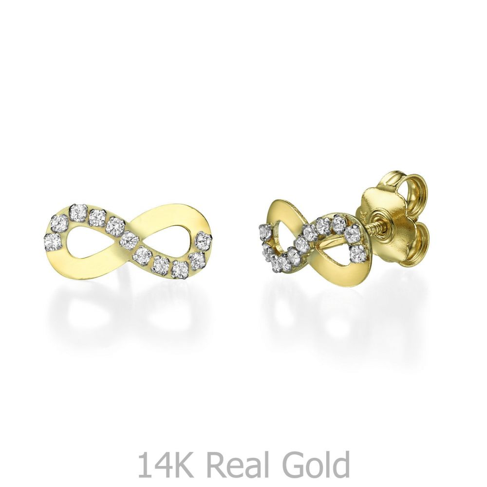 Girl's Jewelry | 14K Yellow Gold Teen's Stud Earrings - Infinite Glamour
