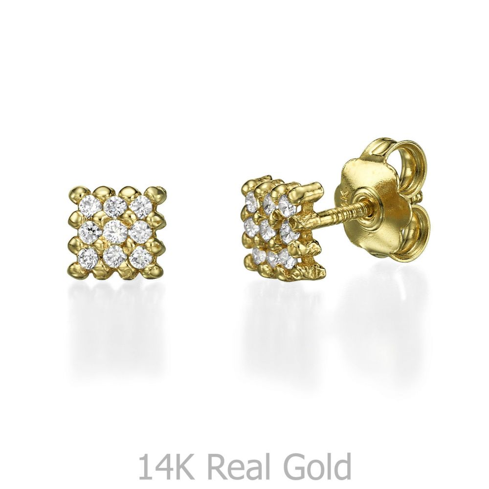 Girl's Jewelry | 14K Yellow Gold Teen's Stud Earrings - Charm