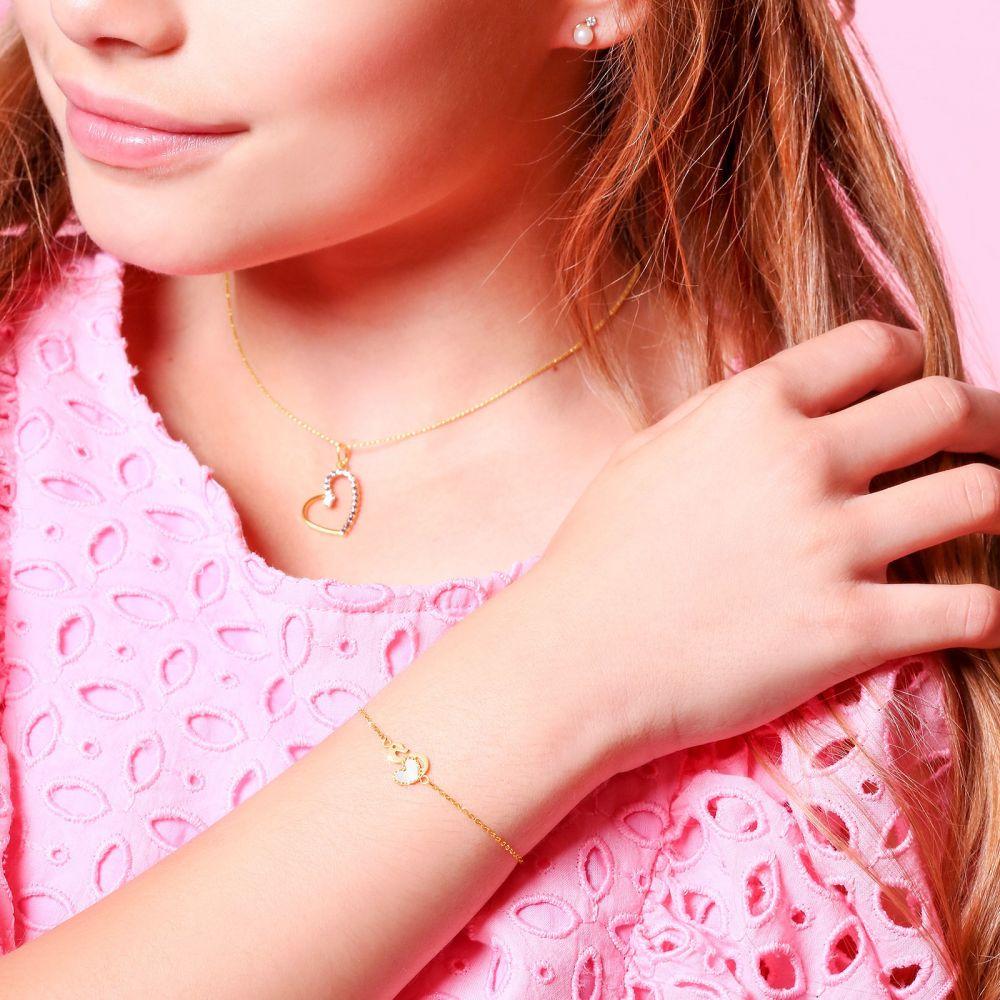 Girl's Jewelry | 14K Gold Girls' Bracelet - Swan Heart
