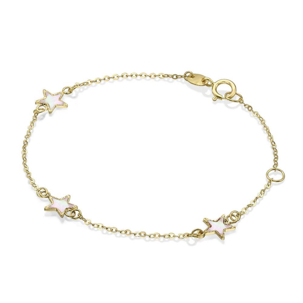 Girl's Jewelry | 14K Gold Girls' Bracelet - Mother-of-Pearl Stars