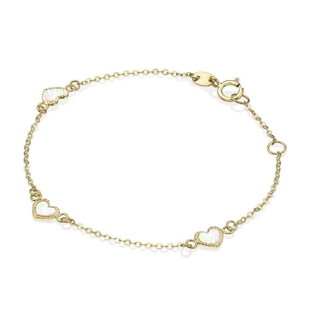 Girl's Jewelry | 14K Gold Girls' Bracelet - Mother-of-Pearl Hearts