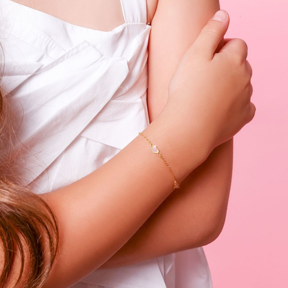 Girl's Jewelry | 14K Gold Girls' Bracelet - Mother-of-Pearl Hearts: Pink