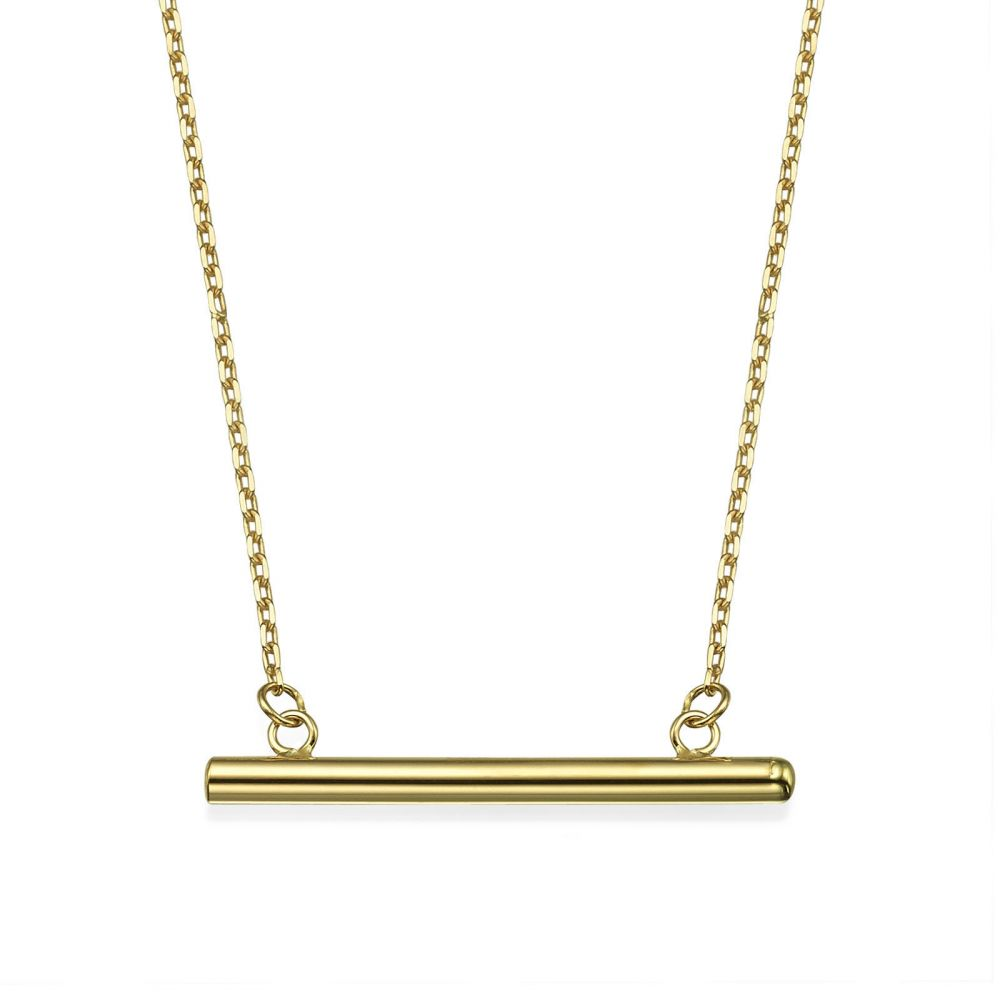 Women's Gold Jewelry | Pendant and Necklace in 14K Yellow Gold - Golden Bar