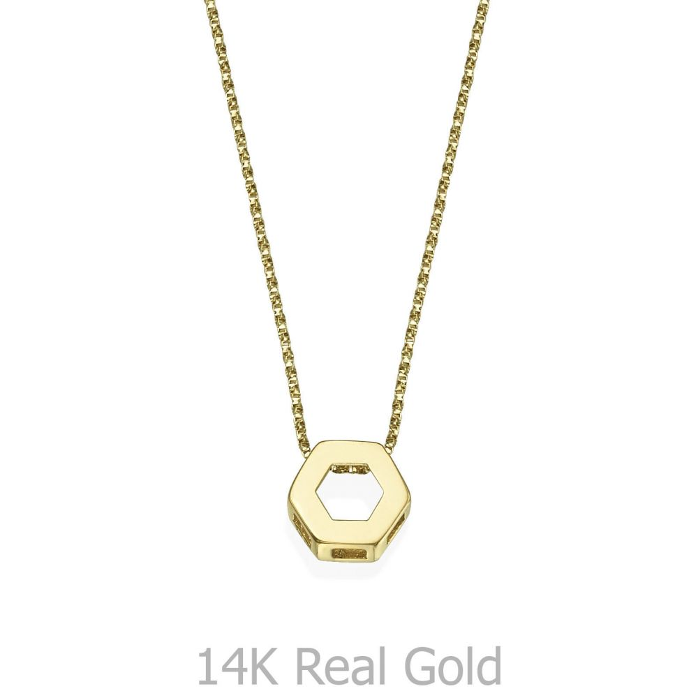 Pendant and Necklace in 14K Yellow Gold - Golden Hexagon. youme ... 72323da49d