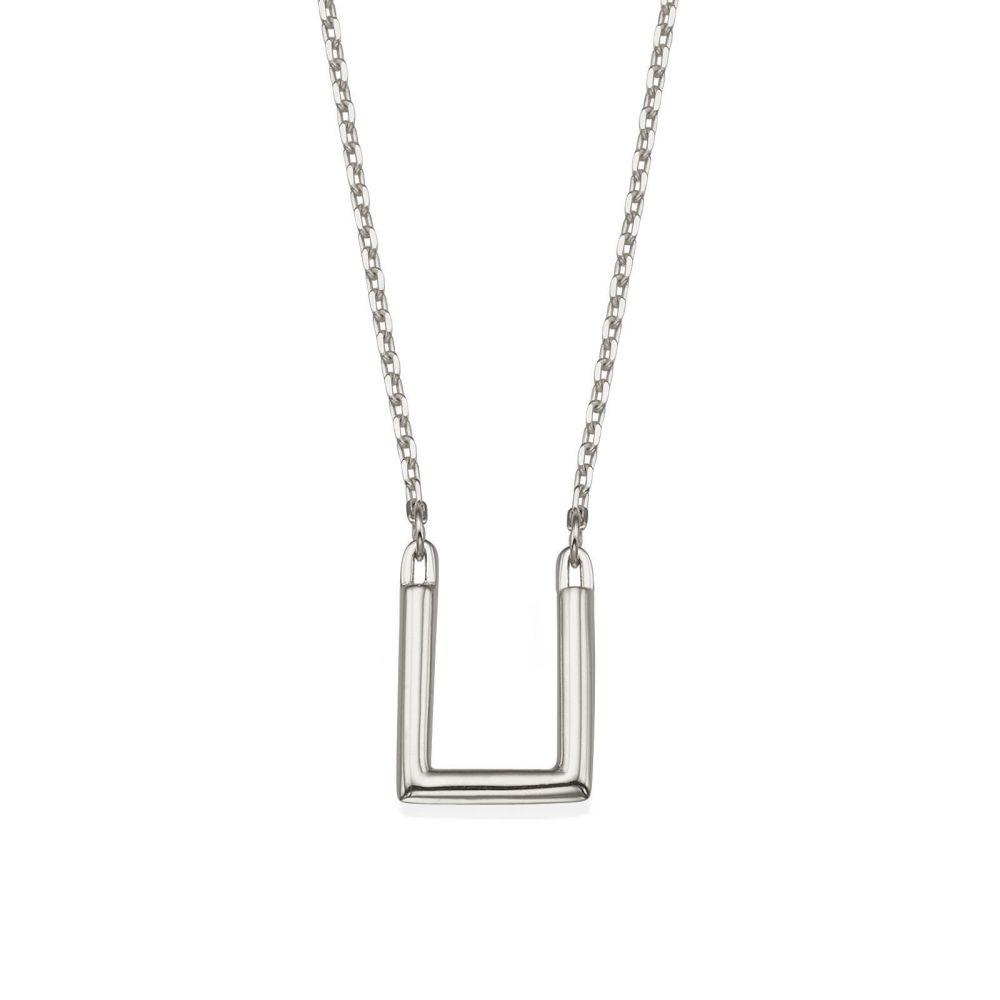 Women's Gold Jewelry   Pendant and Necklace in 14K White Gold - Golden Square