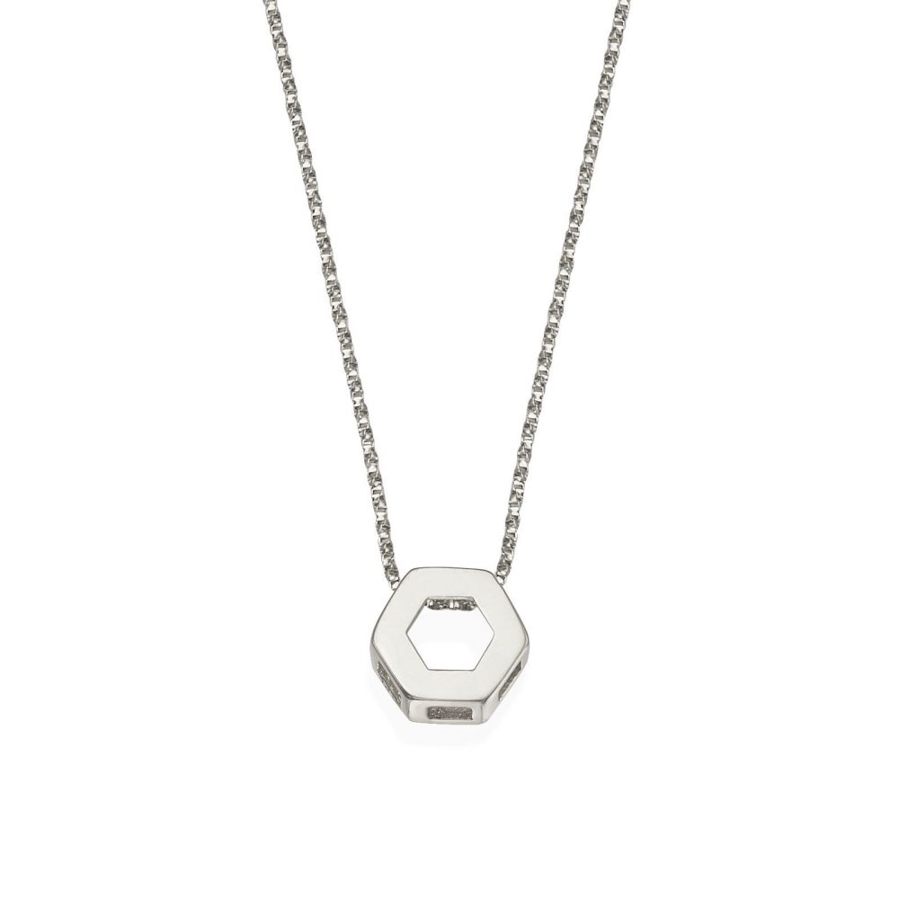 Women's Gold Jewelry | Pendant and Necklace in 14K White Gold - Golden Hexagon